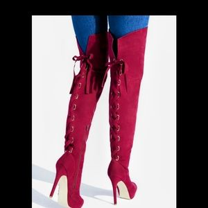 Shoe dazzle red thigh high lace up stilleto boots